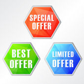 Special, best, limited offer, three colors hexagons web icons — Stock Photo