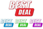 Best deal, four colors labels — Stock Photo