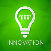 Innovation and light bulb sign over green background, flat desig — Stock Photo