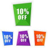 10 percentages off, four colors labels — Stock Photo