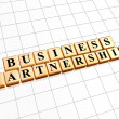 Business partnership in golden cubes — Foto Stock