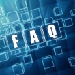 Stock Photo: Faq in blue glass cubes