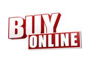 Buy online in 3d letters and block — Zdjęcie stockowe