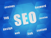 SEO and business concept words in hexagons — Stockfoto