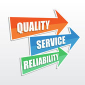 Quality, service, reliability in arrows, flat design — Stock Photo