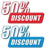 50 percentages discount in two colors labels, flat design — Stock Photo