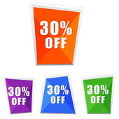 30 percentages off, four colors labels — Stock Photo