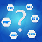 Question sign and question words in hexagons — Stock Photo