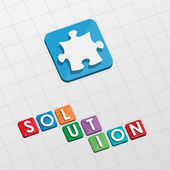 Solution and puzzle piece, flat design — Stock Photo