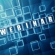 Webinar in blue glass blocks — Stock Photo