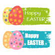 Happy Easter and easter eggs with flowers, drawn labels — Stock Photo #42221319