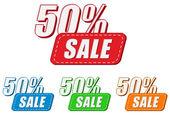 50 percentuali di vendita, quattro colori etichette — Foto Stock