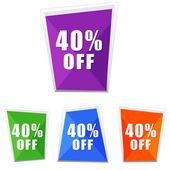 40 percentuali fuori, quattro colori etichette — Foto Stock