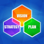 Vision, strategy, plan in hexagons, flat design — Stock Photo