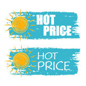 Hot price with yellow sun sign, blue drawn labels — Stock Photo