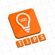 Tips and bulb symbol, flat design web icon — Stock Photo #43694295