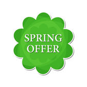 Spring offer in green flower label — Stock Photo