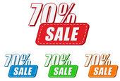 70 yüzde satış, dört renk etiketleri — Stok fotoğraf