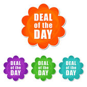 Deal of the day in four colors flowers labels — Stock Photo