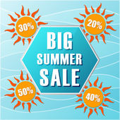 Big summer sale and percentages off in suns, label in flat desig — Stock Photo