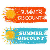 Summer discount with yellow sun sign, orange and blue drawn labe — Stock Photo