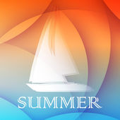 Summer background with boat, flat design — Foto Stock