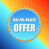 Summer offer in sun sign, retro label, flat design — Stock Photo