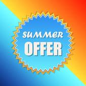 Oferta de verano en el signo solar, etiqueta retro, diseño plano — Foto de Stock