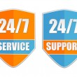 24 7 service and support, two labels — Stock Photo