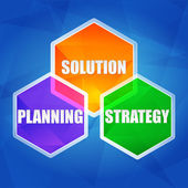 Planning, solution, strategy in hexagons, flat design — Stock Photo