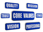 Core values - blue business concept banners — Stock Photo