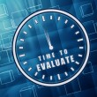 Time for evaluate in clock symbol in blue glass cubes — Stock Photo