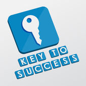 Key to success and key sign, flat design blocks — Stock Photo