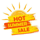 Hot summer sale with sun sign, yellow and orange drawn label — Stock Photo