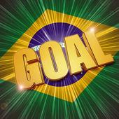 Golden goal over Brazilian flag — Stok fotoğraf