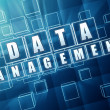 Data management in blue glass blocks — Stock Photo #48546959