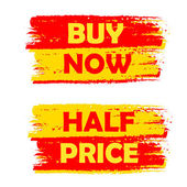 Buy now and half price, yellow and red drawn labels — Foto Stock