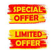 Special and limited offer, yellow and red drawn labels — Stock Photo