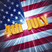 4th of July over shining american flag — Stock Photo
