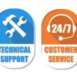 Technical support with tools sign and 24 7 customer service, two — Stock Photo #48887327