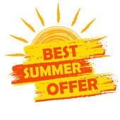 Best summer offer with sun sign, yellow and orange drawn label — Stock Photo