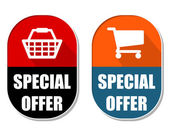 Special offer with shopping basket and cart signs, two elliptica — Stock Photo