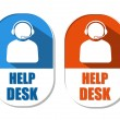 Help desk with headset sign, two elliptical labels — Stock Photo