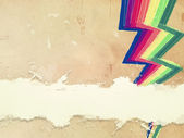 Retro old paper with drawn rainbow zigzag lines and text space — Stock Photo