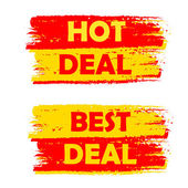 Quente e o melhor negócio, etiquetas desenhadas amarelas e vermelhas — Fotografia Stock