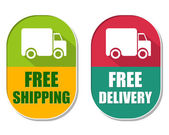 Free shipping and delivery with truck sign, two elliptical label — Stock Photo