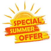 Special summer offer with sun sign, yellow and orange drawn labe — Stock Photo