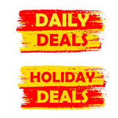 Daily and holiday deals, yellow and red drawn labels — Stock Photo