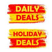Diariamente e férias lida, amarelos e vermelhos desenhados rótulos — Fotografia Stock
