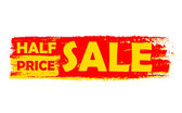 Half price sale, yellow and red drawn label — Stock Photo
